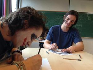 Even og Jostein gikk fra ansiktsmaling til å tegne ansikter